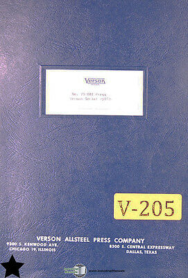 Verson 7S, OBI Press Operations Maintenance and Parts Manual
