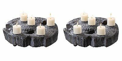 """Two New Rustic 22"""" Cast Tree Trunk Candle Holder Aged Wood Finish Silver Detail"""