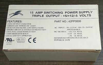 15A Switch Mode Power Supply. Triple Output - +5V +12V - 5V