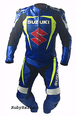 Mens Racing Suit Motorcycle Leather Suit Motorbike Leather Jacket Trouser