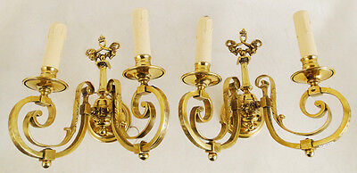 Antique French Louis XV style bronze pair of sconces