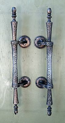 Pair Vintage Door Pulls Church Style Cast Metal Hammered Finish Mexico