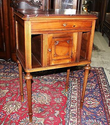 Beautiful Antique French Walnut Louis XVI Marble Top Record cabinet / Nightstand