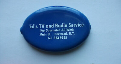 Vintage Quikoin Advertising Ed`s Tv & Radio Norwood Ny  - Coin - Change Holder