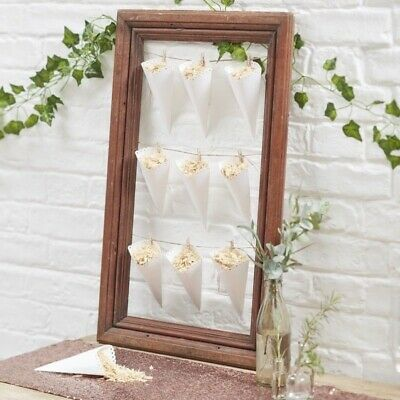 Ginger Ray 10 Pack of White Scalloped Wedding Confetti Cones Beautiful Botanics