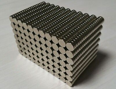 """100 Neodymium N52 Cylinder Disc Magnets. Super Strong Rare Earth. 3/8"""" × 1/8"""""""