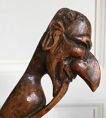 Large 19th Century Treen Folk Art Carved Wood Page Turner, c.1840-60. 43cm.