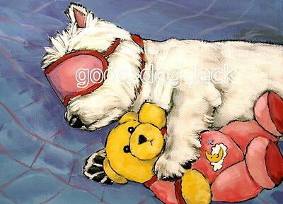 """West Highland Terrier ACEO WESTIE PRINT Painting """"DIVA"""" Dog Art RANDALL"""