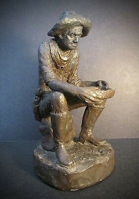 """MICHAEL GARMAN WESTERN CLAY SCULPTURE """"Forty-Niner"""" Cowboy ~ Signed & Dated 1986"""