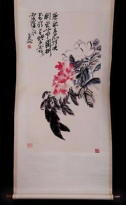 Exquisite Old China Scroll Handwork Painting Landscape Marks WuChangShuo KK799