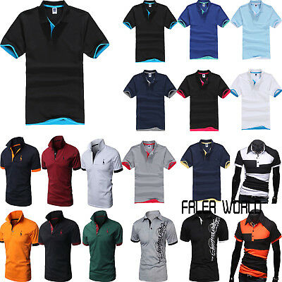 Men's Stylish Short Sleeve Golf Polo T Shirt Summer Casual Slim Fit Tops Shirts
