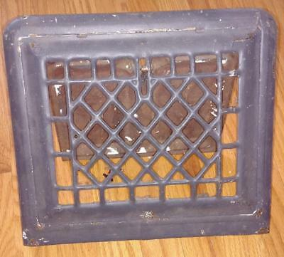 "Vintage Metal Wall Vent Cover/Register Painted Grey Heat Grate 13 1/4"" x 11 3/4"