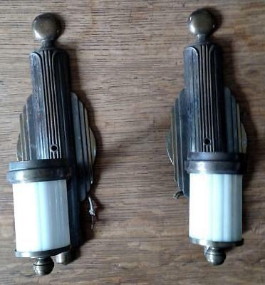 Pair Vintage Art Deco Sconces White Glass Brass-Finish Arts/Crafts Bullet Wall
