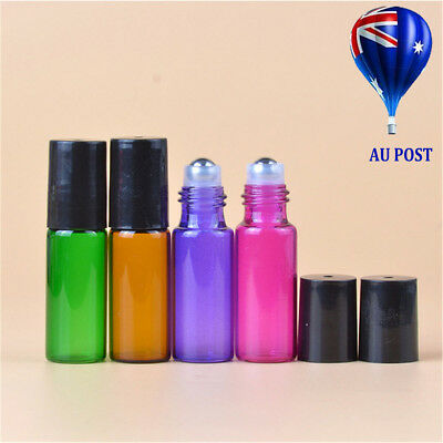 1/4X Colorful Roller Ball Roll On Glass Bottle Small For Perfume Essential Oil M