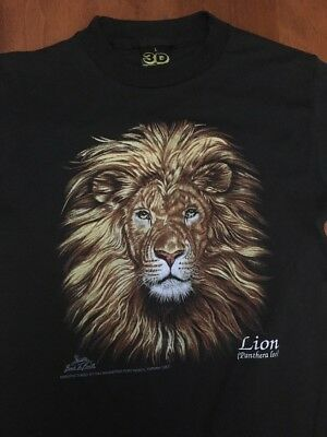 Vtg Unworn 3D EMBLEM AFRICAN LION BACK TO EARTH  T-SHIRT Boys Large Zoo 50/50