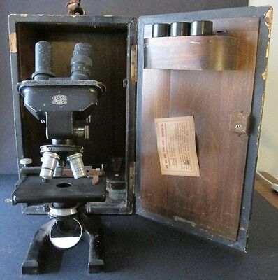 ANTIQUE SPENCER BINOCULAR MICROSCOPE in WOODEN CASE ~ Buffalo, New York ~ Extras