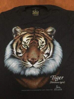 Vtg Unworn 3D EMBLEM TIGER ~ BACK TO EARTH  T-SHIRT Boys M Zoo 50/50 1994
