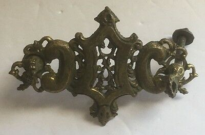 Vintage Brass Small Ornate Dual Screw Decorative Ornament Art Mountable