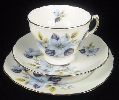 Queen Anne Pale Blue Flowers Bone China Cup/Saucer/Plate Trio #8301