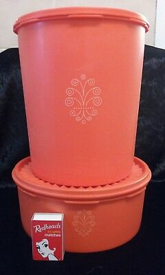 Two Orange Tupperware Servaliers Cake Biscuit Canister