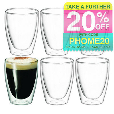 6pc Avanti Caffe Twin Wall Glasses 250Ml/Coffee/Tea/Cafe/Chai/Latte/Drink/Glass
