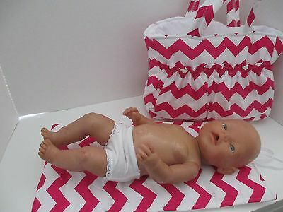 """Dolls Nappy Bag & Change pad, """" Chevron Hot Pink""""  LAST ONE REDUCED"""