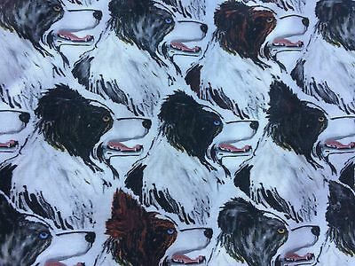 Border Collie  print fabric cotton