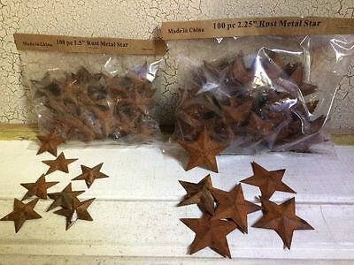 """200 TOTAL Rusty Barn Stars (100) 1.5"""" & (100) 2.25"""" Country Rust Rustic Craft **"""
