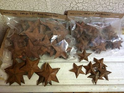 "200 TOTAL Rusty Barn Stars (100) 1.5"" & (100) 2.25"" Country Rust Rustic Craft **"
