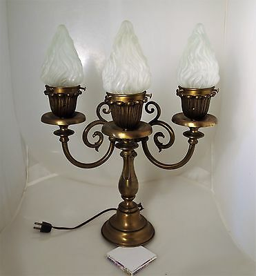 Rare 1-sided Antique Solid Bronze & Brass MANTLE/Newel Post LAMP  (1 of pr)
