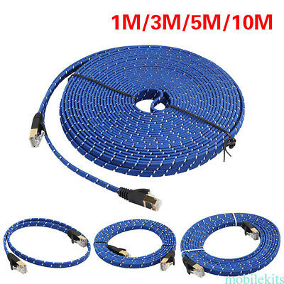 New 1 /3 / 5 /10 M CAT-7 Ethernet Internet Network Patch LAN Flat Cable Blue