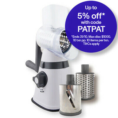 Avanti Table Top Drum Grater w/ 3 Blades Stainless Steel Slicer w/ Suction Base
