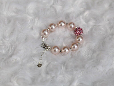 Preemie Newborn Baby Ivory Pink Pearls Bracelet with Swarovskii Beads 0-5 years