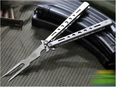 Practice Metal Steel BALISONG BUTTERFLY Trainer Training Fork Knife Tool