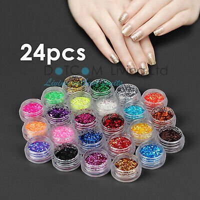24 Mix Colours Nail Art Craft Acrylic Fine Glitter Powder Pots Tips Decoration