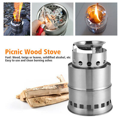 Outdoor Wood Stove Gas Backpacking Pocket Portable Survival Wood Burning Camping