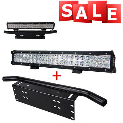 "20"" inch 126W CREE LED Light Bar + 23"" License Mount Bull Bar Number Plate Frame"