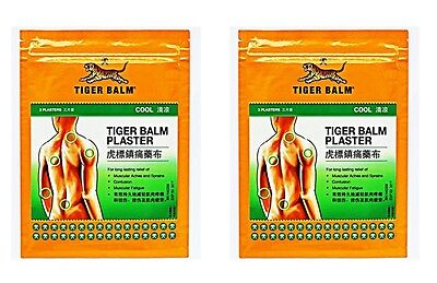 Tiger balm cool plaster patch muscle pain relief 10cm x 14cm 2 pack = 4 plasters