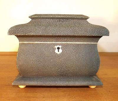 Superb Vintage Extremely Rare Serpentine Pergola Green Shagreen Tea Caddy.