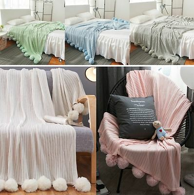 Reversible Pom Pom Knitted Throw Crochet Blanket Cotton Rug Bed Sofa Home Decor