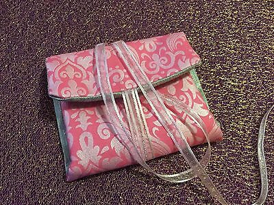 Tarot Card and Oracle Card Wrap Clutch Bag - Hand Made - Pink And Silver No. 3
