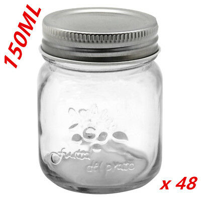 48x Small Glass Jars 200ml Preserving Conserve Storage Jam Jar Wedding Favours D