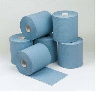 12 BLUE ROLL 2Ply Centrefeed Rolls Paper Hand Towel Kitchen Tissue Catering Wipe