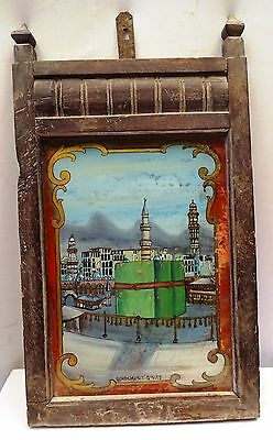 Antique Mecca Kaaba Kaba Saudi Arabia Haram Sharif Hajj Islamic Glass Painting