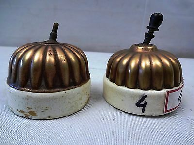 2 Pc Rare Ceramic & Brass Victorian Sperrynwood Electric Switches Collectible #4