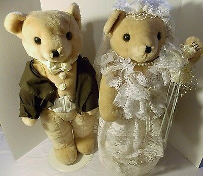 """Bride & Groom Stuffed Bears 24"""" Dolls on stands homemade clothes Wedding"""