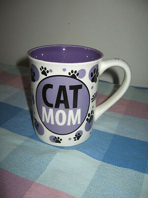 Large 16oz Purple Cat Mom Mug It's All About Meow Paw Prints by Lorrie Veasey