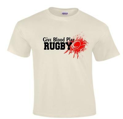 Funny Humorous Sport Rugby Give Blood Play Rugby T-shirt Sizes Small to 5XLarge