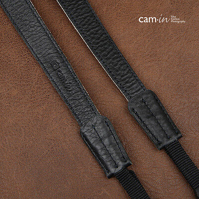 Black & White Leather Adjustable Cam-in DSLR Camera Strap w/ Tapered Ends | UK