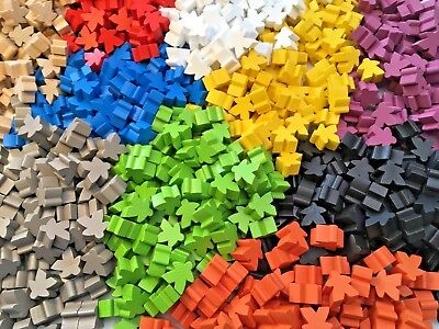 Wooden Meeples / Carcassonne Spares - Pack of 8 avail in 13 colours - UK SELLER!